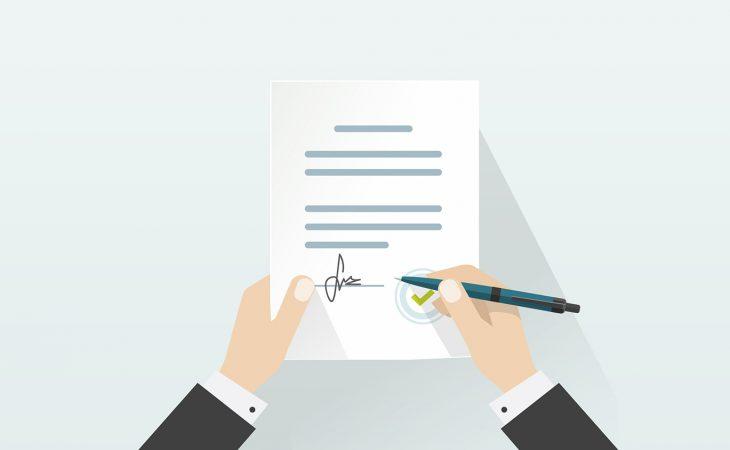 Tegning av person som undertegner kontrakt