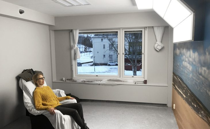 Bilde fra lysterapirommet ved sykehuset