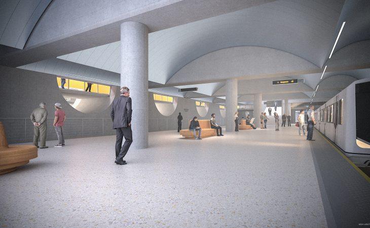 Illustrasjon av nye Majorstua t-banestasjon