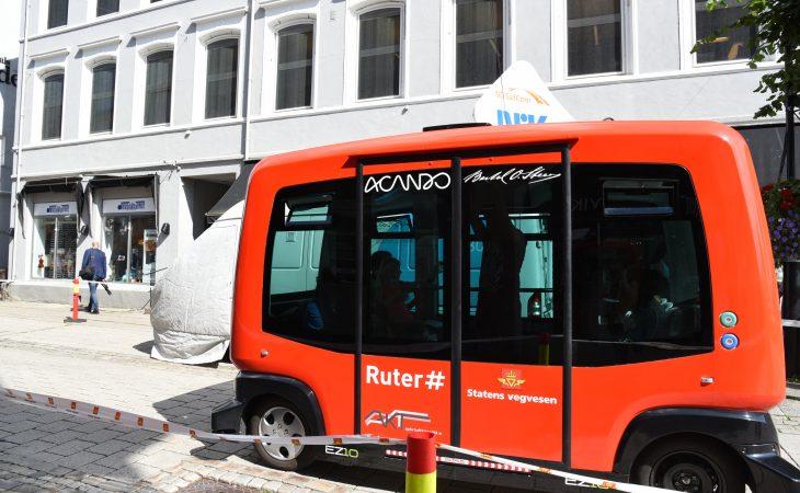 Bilde av autonom buss i Kongsberg